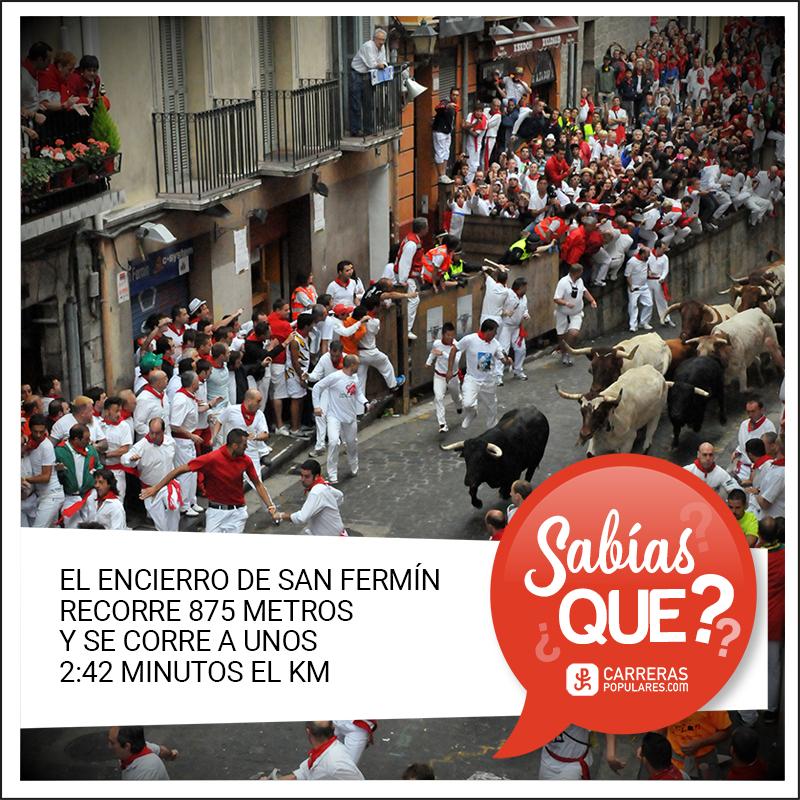 El encierro de San Fermín recorre 875 metros y se corre a unos 2:42 minutos el km