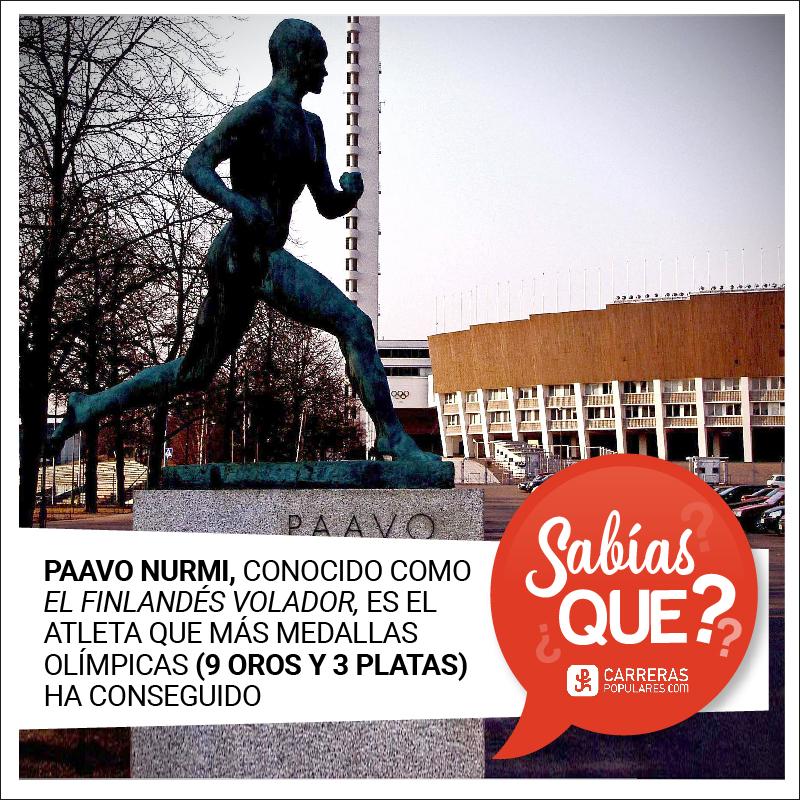 Paavo Nurmi, conocido como el finlandés volador, es el atleta que más medallas olímpicas (9 oros y 3 platas) ha conseguido.