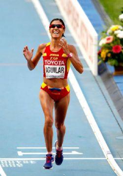 Alessandra Aguilar, llegando a la meta en el Maratón del pasado Mundial de Moscú