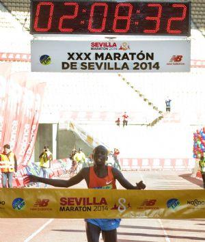 El ganador del Maratón de Sevilla 2014, Cosmas Kiplimo Lagat, entrando en la meta