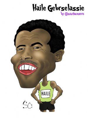 Haile Gebrselassie ha sido otro de los atletas de nivel mundial retratados por Santacenero