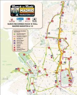 Recorrido de la Maratón de Madrid (pincha en la imagen para ver los avituallamientos en detalle)