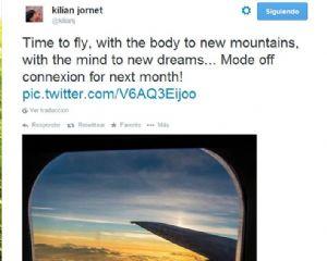 Último mensaje publicado en la cuenta de twitter de Kilian Jornet en su viaje hacia Alaska