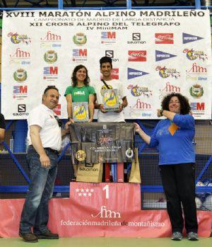 El ganador del MAM 2014, Zaid Ait, y la ganadora, Ana Isabel Paz, durante la entrega de trofeos