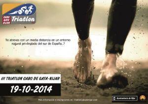 Cartel del Medio Ironman Cabo de Gata Nijar, en el que participará Pedro Fernández