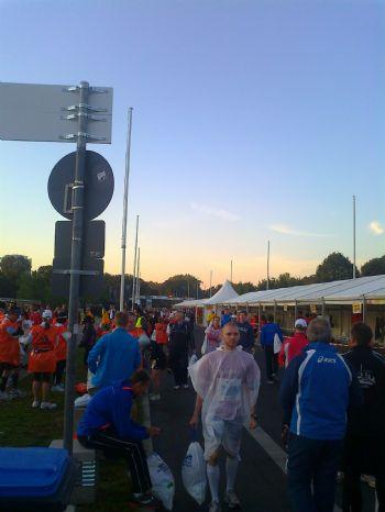 Zona de guadarropa del Maratón de Berlín