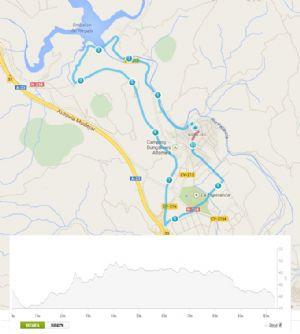 Plano de la ruta descrita por los alrededores de Navajas, en Castellón