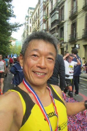 Shinichi Sasaki, tras acabar la carrera Behobia San Sebastián