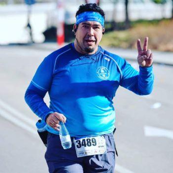 Javier Viñas, en la Media Maratón de Getafe, antes de su operación de reducción de estómago